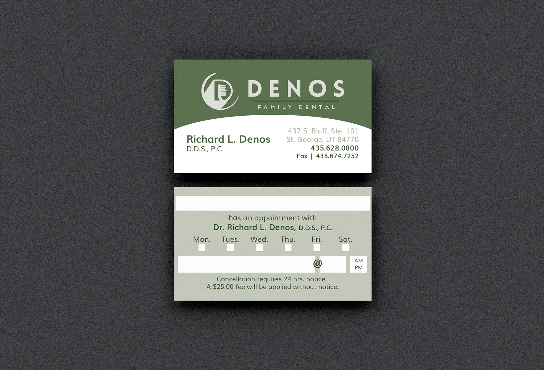 Business cards st george utah images card design and card template denos family dentistry tenth muse design previous reheart images reheart Image collections